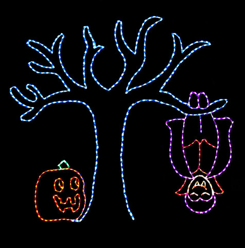 Animated LED light display of a purple and orange vampire bat hanging from a blue tree with a jack-o-lantern by it's side