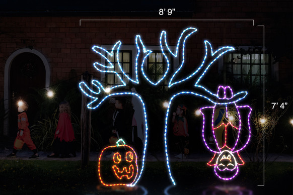 """Animated LED light display of a purple and orange vampire bat hanging from a blue tree with a jack-o-lantern by it's side with dimensions 8'9"""" by 7'4"""""""