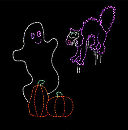 Animated purple LED light display of a cat frightened by a white ghost hovering behind two orange pumpkins