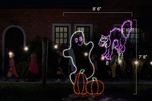 "Animated purple LED light display of a cat frightened by a white ghost hovering behind two orange pumpkins with dimensions 8'6"" by 7'8"""