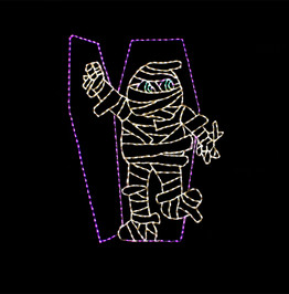 Animated LED white mummy coming out of a purple coffin