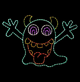 Smiling animated goblin waiving his arms made of green and red LED lights