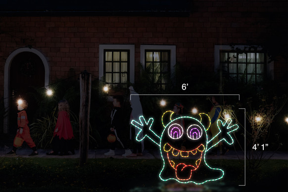 """Smiling animated goblin waiving his arms made of green and red LED lights with dimensions 6' by 4'1"""""""