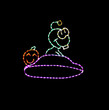 Cute animated green LED alien flying on a purple space saucer with a pumpkin riding along