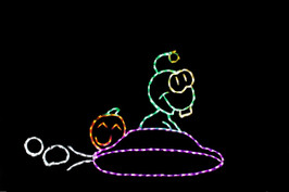 """Colorful light display of a Martian sitting inside of a saucer with dimensions 3' 1"""" tall x 5' wide"""
