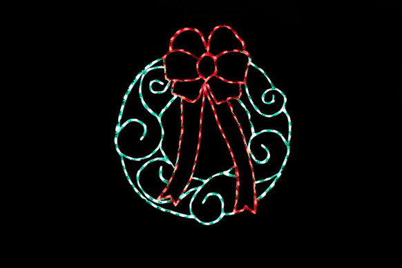 LED green Christmas wreath with a red bow