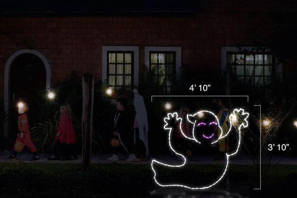 "Happy white ghost LED light display facing right with dimensions 4'10"" by 3'10"""