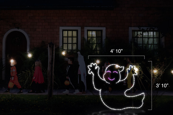 """Happy white ghost LED light display facing left with dimensions 4'10"""" by 3'10"""""""