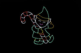 Green and yellow LED display of an Elf holding a red and white candy cane
