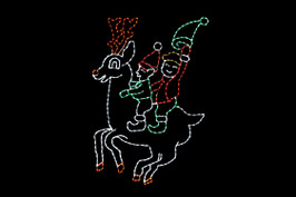 Animated red, green and white LED elves riding a red and white reindeer