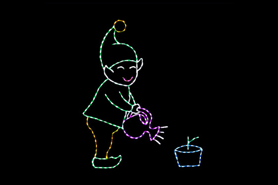 Green, white, purple and yellow LED animated elf watering a blue and green plant light display
