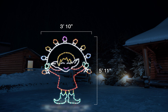 """Red, white, green and yellow animated elf jumping a colorful LED jump rope with dimensions 3'10"""" by 5'11"""""""