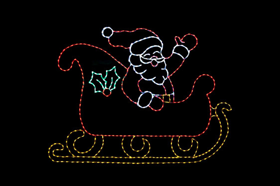 Animated LED red, white, yellow and green waving Santa light disply