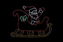 Animated LED red, white, yellow and green waving Santa light display