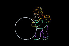 Yellow, green, purple and red LED light display of a girl rolling a white snowball