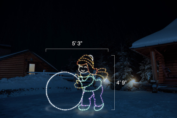 """Yellow, green, purple and red LED light display of a girl rolling a white snowball with dimensions 5'3"""" by 4'9"""""""