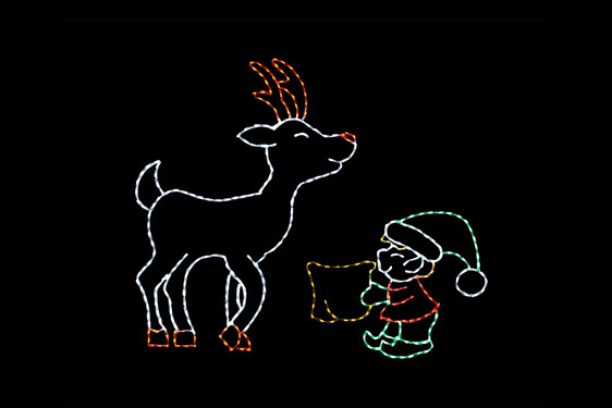LED animated light display of a green, red and white elf feeding a white and red reindeer