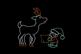 LED reindeer and elf animated outdoor Christmas light display of a green, red and white elf feeding a white and red reindeer