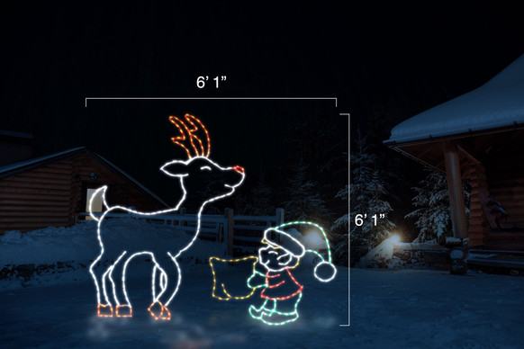 """LED animated light display of a green, red and white elf feeding a white and red reindeer with dimensions 6'1"""" by 6'1"""""""