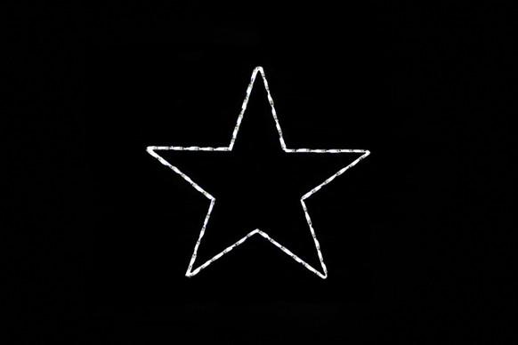 White LED lights 5 point star against black background