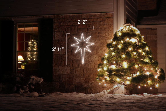 Bright white 8 point LED Christmas star with dimensions 2'2' by 2'11'