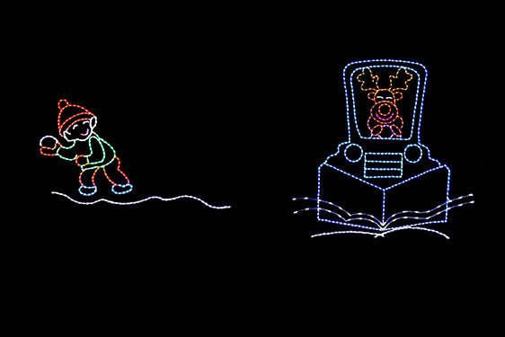 Animated LED light display of a orange reindeer driving a blue snow plow with a boy dressed in green and red getting ready to throw a snowball at the plow