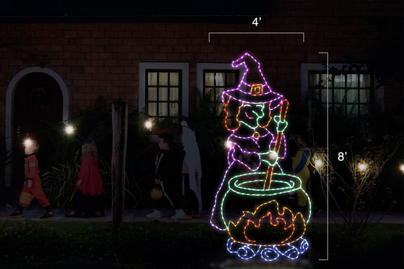 Purple, green and yellow LED display of a witch stirring a green pot of witches brew over a red and yellow fire with blue logs with dimensions 4' by 8'
