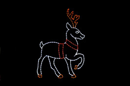 LED light display of a white reindeer with red tack standing facing right