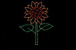Red and orange LED sunflower with a green stem