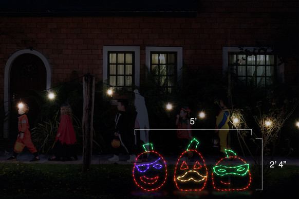 """LED light display of three jack-o-lanterns, one has a purple eye patch, one has a yellow mustache, and one has a green eye mask with dimensions 5' by 2'4"""""""
