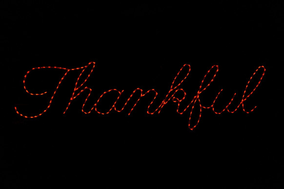 "LED light display of a sign saying ""Thankful"""