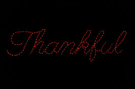 "LED light display of a sign saying ""Thankful"""