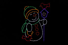 LED light display of a snowman with a green scarf and hat with yellow trim and mittens holding a purple bird house with a red bird perched atop the house and a red bird resting besides the snowman