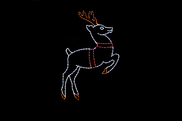 White LED light display of a reindeer with red tack taking off