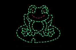 Green LED light display of a frog