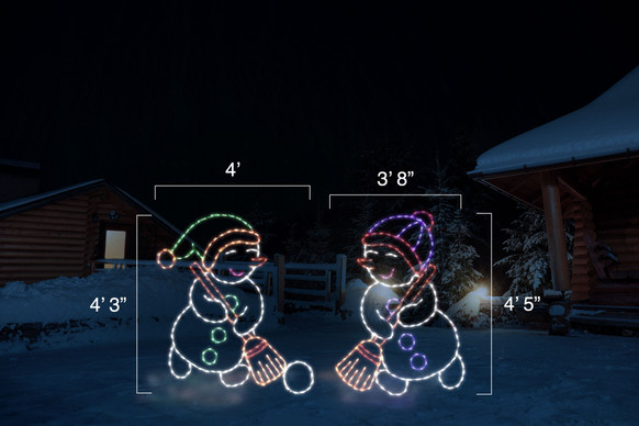 "Two animated LED snowmen with colorful hats playing broomball.  Dimensions of left snowman are 4' by 4'3"" and dimensions of right snowman are 3'8"" by 4'5"" ."