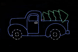 LED light display of a blue truck with green Christmas tree lying in the truck bed