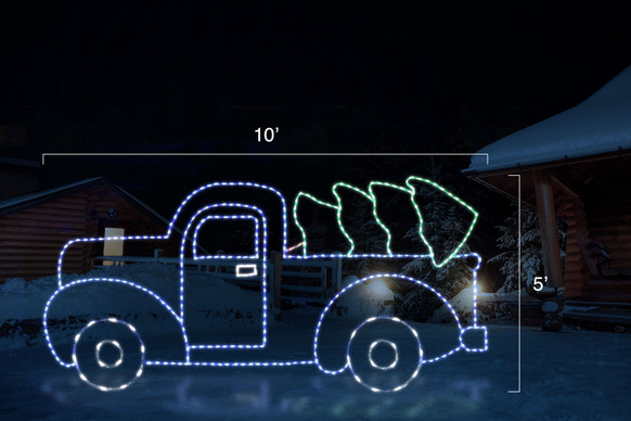 LED light display of a blue truck with green Christmas tree lying in the truck bed with dimensions 10' by 5'