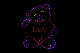 Bear holding a hear that says Luv U outdoor decoration