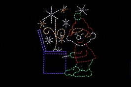 Elf opening box with snow flurries outdoor light up decoration