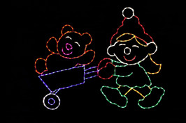 Elf pushing a wheelbarrow with a teddy bear in it outdoor Christmas decoration