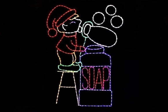 Animated outdoor decoration of elf blowing bubbles