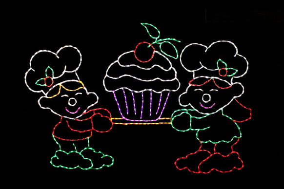 Two elves holding a cupcake outdoor Christmas decoration