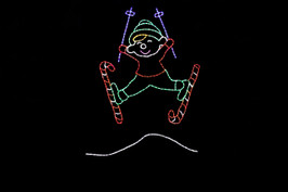 Animated outdoor Christmas decoration of elf ski jumping