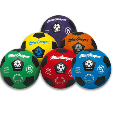 MacGregor Two-Tone Colored Rubber Soccer Balls - Prism Pack Sz 4