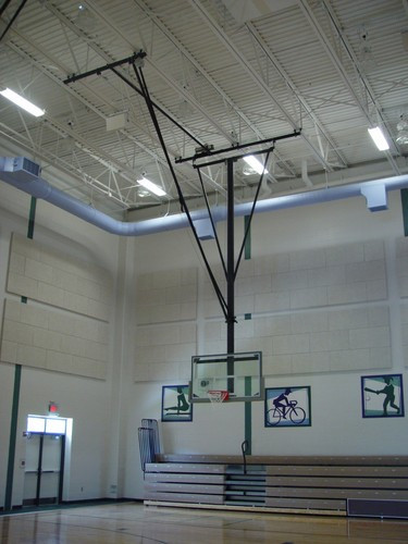 Gared Ceiling Hung Basketball Backstop, Forward Fold, Front Braced