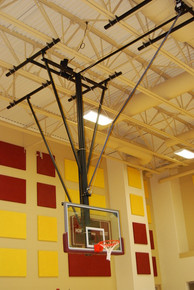 Gared Ceiling Hung Basketball Backstop, Forward Fold, Rear Brace