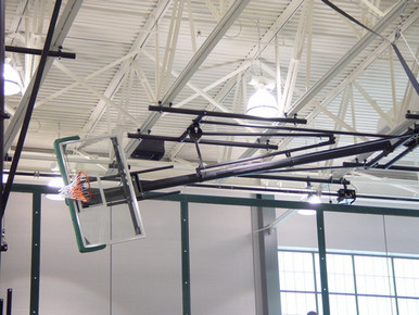 Gared Ceiling Hung Basketball Backstop, Side Fold, Side Braced