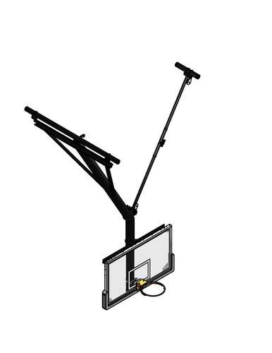 Gared Ceiling Hung Angled Basketball Backstop, Side Fold and Braced