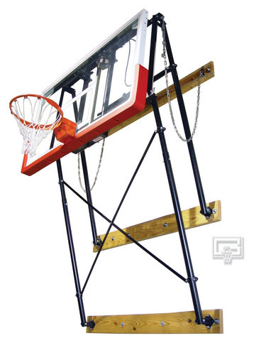 Gared Wall Mounted, Fold Up Basketball Backstop